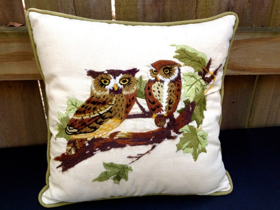Owl Throw Pillow Etsy : vintage 1950s-60s embroidered owl throw pillow by mkmack on Etsy