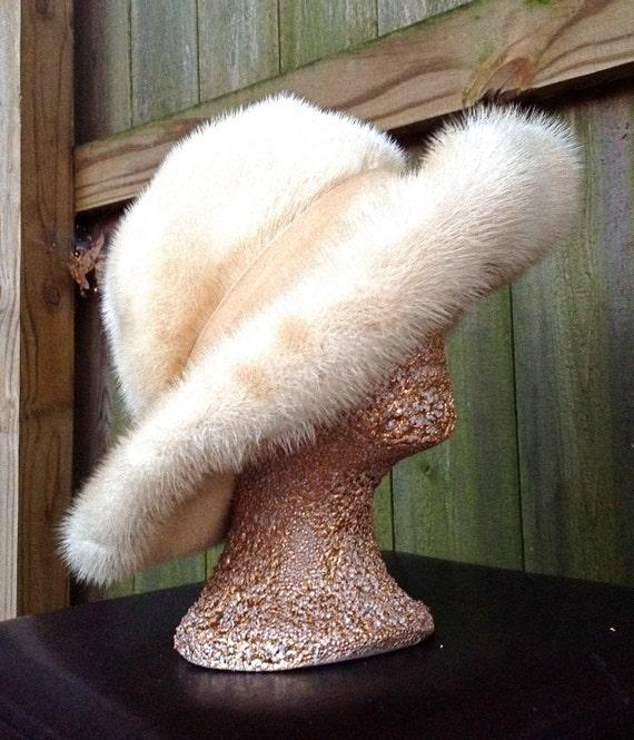 vintage mink hat - white RARE 40s-50s authentic mink fur hat w/ rim