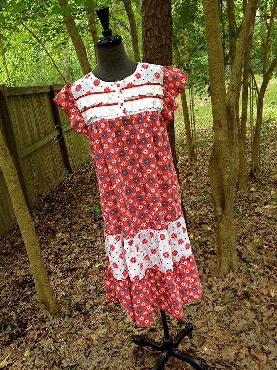 vintage 60s floral dress - red cotton eyelet flower power sun dress