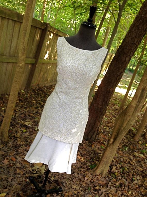 SALE vintage 60s beaded dress - ivory off-white boatneck flouncy-skirt mini by Lisa Howard