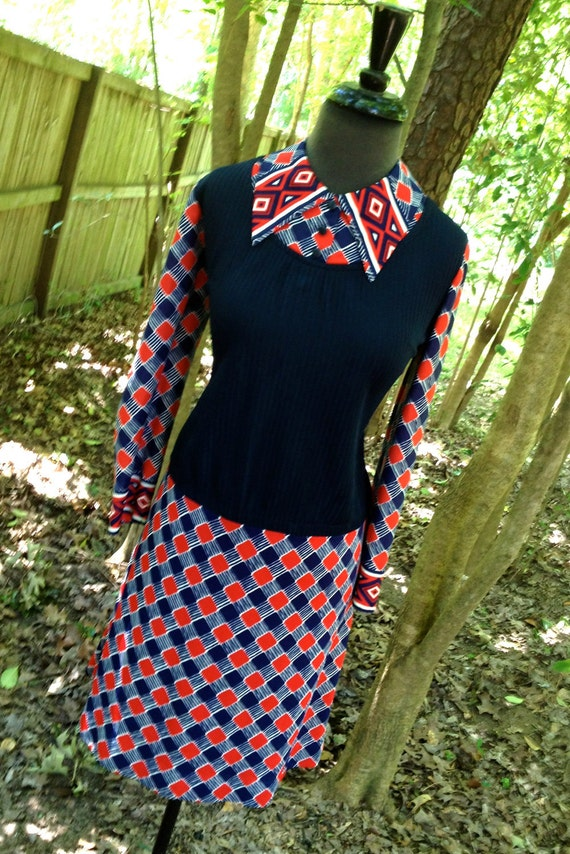 vintage 1960s dress - Cay Artley navy/red collared dress