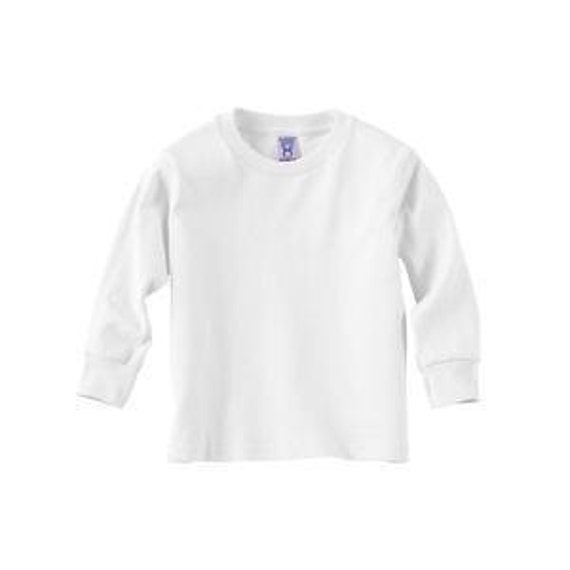Rabbit Skins White Blank Baby Rib Long Sleeve Tee - 100% Cotton Size 2