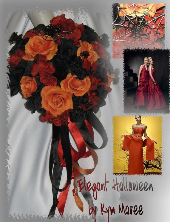 items similar to halloween wedding bouquet set halloween bridal bouquets on etsy. Black Bedroom Furniture Sets. Home Design Ideas