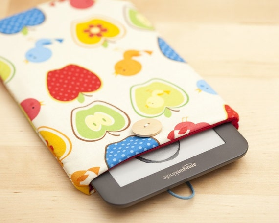 kindle 3 sleeve case - birds and apples-