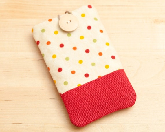 Iphone 5 case Ipod case - dots in red -