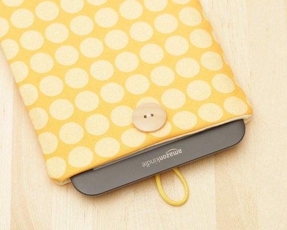 kindle case / nook case / kindle fire case / kindle sleeve / kindle 4 case / kobo case - yellow dots -