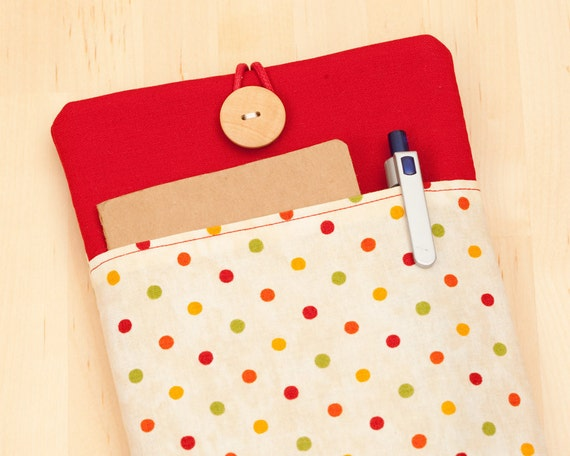 kindle Paperwhite cover / kindle fire case / kindle cover / kindle sleeve / kindle 4 case / kobo case - dots in red with pockets --