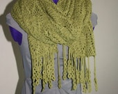 Crochet Wrap with Fringe Detail XL (Lemon Grass Color) - RESERVED for hamblypants