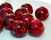 25% OFF sale leopard print  red Leopard Acrylic Bead, 10 pieces Basketball wives earrings