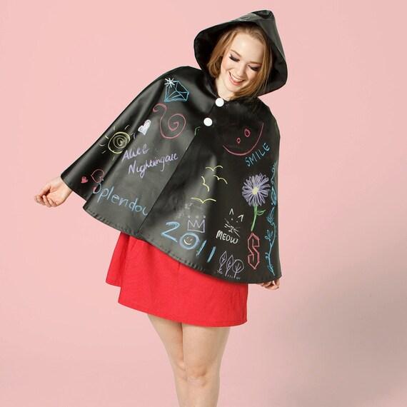 SALE - Blackboard Rain Cape & Chalk Set