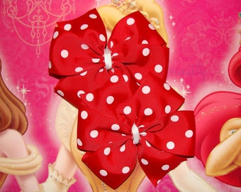 2 Large Red with White Polka Dots Pinwheel Hair Bows Set Valentine Hair Bows