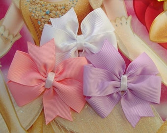 3 Princess Collection 3 inch Hair Bows Set