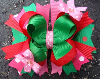 Hot Pink Red and Green Hair Bow Large Boutique Stacked Hair Bow
