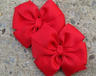 2 Red Hair Bows Large hair bow