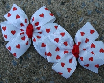 Valentine Hair Bow White with Red Hearts