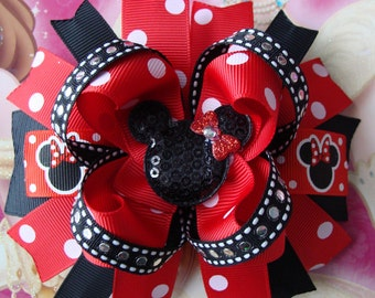 Minnie Mouse Hair Bow-Large Hair bow - Red and Black Minnie Mouse Hair Bow minnie mouse bow