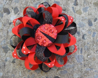 Black and Red Lady Bug Hair Bow Hair Clip
