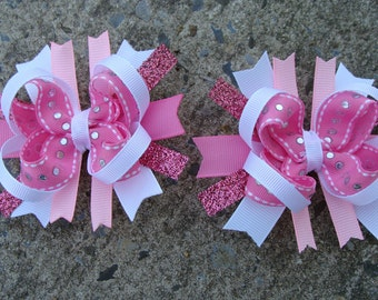Two pigtail hair bows Sparkle Pink and White Boutique Hair Bows Mini Boutique Hair Bow Set - Pigtail Hair Bow Set