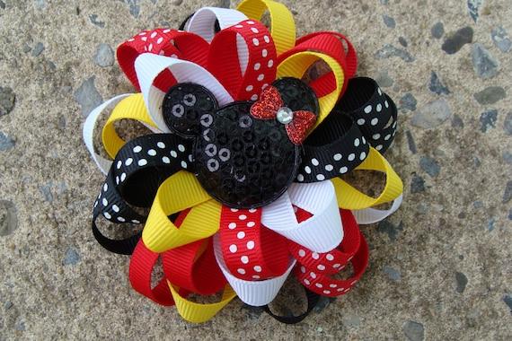 Disney Hair Bow Mickey Mouse Hair Bow Minnie Mouse Hair Bow Loopy Flower Hair Bow