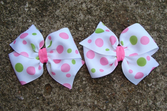 Pigtail Hair Bow Pink and Green dots Hair Bow Set 3 inch Small Hair Bow