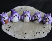 Misty- 5 Owl Charms Wizard Purple Polymer Clay Pendant