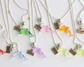 Dolphin Jewelry Silver 15 Necklaces Wish Charm, Girl Gift, Dolphin Party, Dolphin Favors