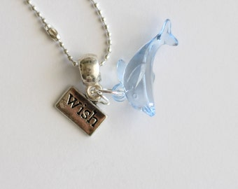 Blue Dolphin Silver Necklace Wish Charm
