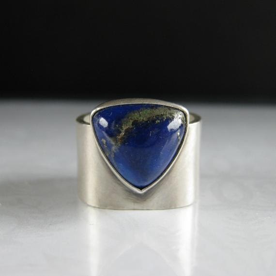 Lapis Lazulli Triangle Square Sterling Silver Ring - Milky Way - Size 7