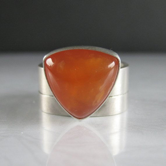 Tangerine Tango Orange Chalcedony Sterling Silver Ring, Size 8.5
