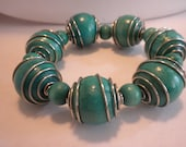 Vintage Funky Chunky Turquoise Wooden Bead Bracelet FREE Shipping