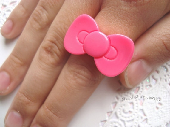 Hello Bow Ring - pink hot - free shipping -
