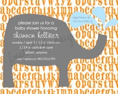 Elephant and Alphabet Baby Shower - AS SEEN ON Hostess with the Mostess - Printable Invite - Fresh Chick Design Studio