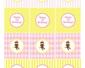 Vintage Sock Monkey Printable Birthday Party of Baby Shower Cupcake Toppers - Fresh Chick Designs