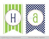 Printable Party Happy Birthday Flag Banner - Train Birthday or Baby Shower - Fresh Chick Design Studio
