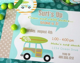 PRINTABLE PARTY INVITATION - Surfer Dude Collection