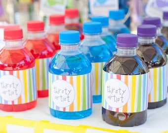 PARTY PRINTABLE - Rainbow Art Paint Party Printable Drink Labels - Petite Party Studio