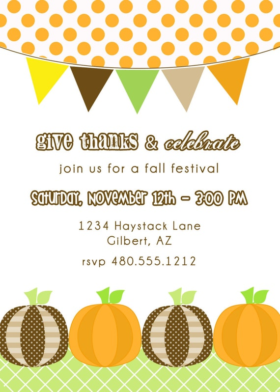 Sizzling image for free printable fall party invitations