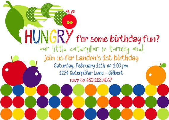 A Very Hungry Caterpillar Inspired Printable Birthday Party Invitation - Birthday or Baby Shower- Fresh Chick Designs