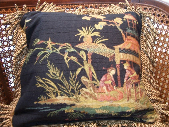 Oriental Flare Black Tapestry Fabric Fringe Edging Accent Decorative Pillow