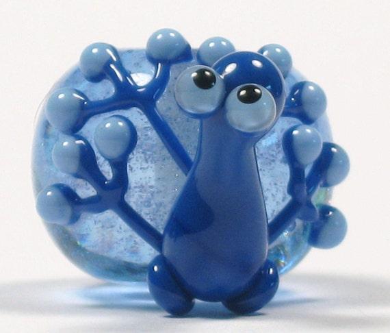 Blue Dichroic Frog Lampwork Glass Bead NLC Beads