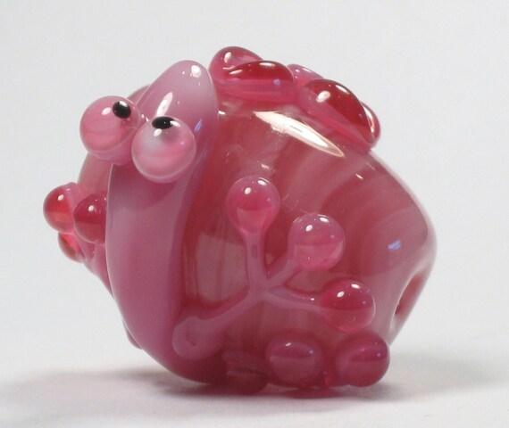 First Friday Sale Pink Floral Lizard Chameleon Gecko Lampwork Glass Artisan Handmade SRA Bead NLC Beads leteam