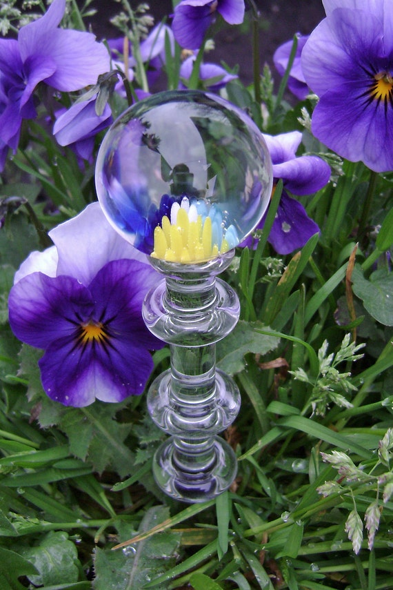 Flameworked Glass Garden Stake with Floral Implosion
