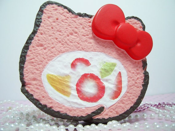 Hello Kitty Squishy Cake Rolls : Giant Hello Kitty Cake Roll Necklace by kittywooddesigns on Etsy