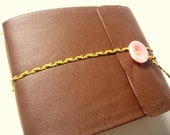 Pink and Brown Leather Landscape Journal- longstitch