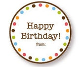 Happy Birthday Gift Labels Brown with Multi Dot Border