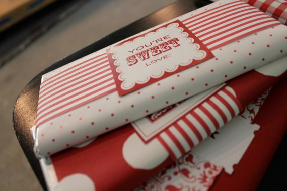 Red Stripe Paper Ribbon for Gift Wrap