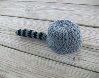 Crocheted 'Coon Skin Cap Raccoon Hat (3 years - adult)
