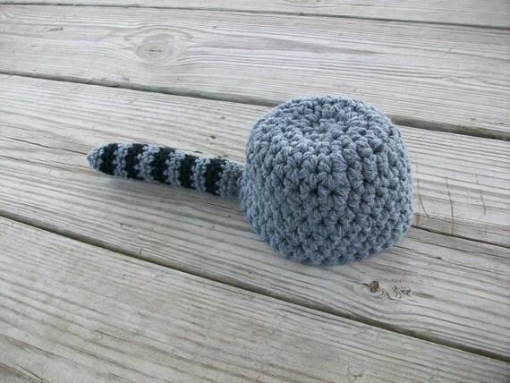 Crocheted 'Coon Skin Cap Raccoon Hat (3 years - adult)