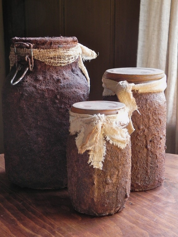 Primitive Grungy Pantry Mason Jars Set Of 3 For Your Farmhouse