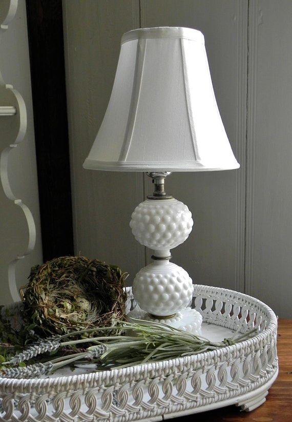 Vintage Milk Glass Hobnail Table Lamp Bedside Table Farmhouse Decor With New Silk Bell Shade. From Country Home City Home.